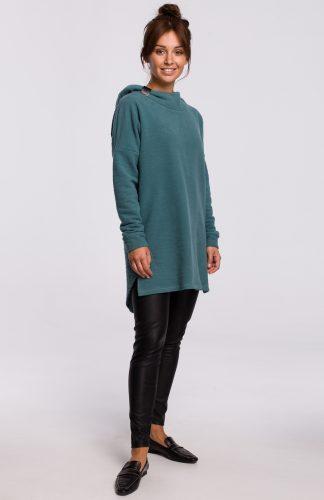 Bluza długa oversize z kapturem zielona