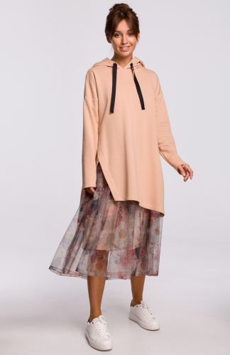 Bluza długa z kapturem oversize beżowa