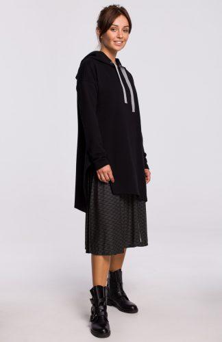 Bluza długa z kapturem oversize czarna