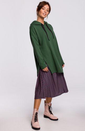 Bluza długa z kapturem oversize zielona