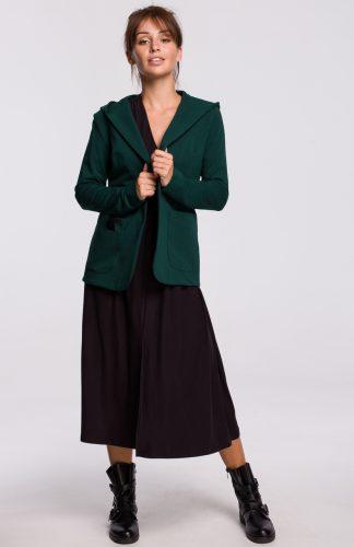 Żakiet bawełniany z kapturem zielony