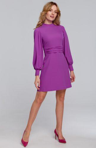 Sukienka mini z bufiastymi rękawami lawendowa