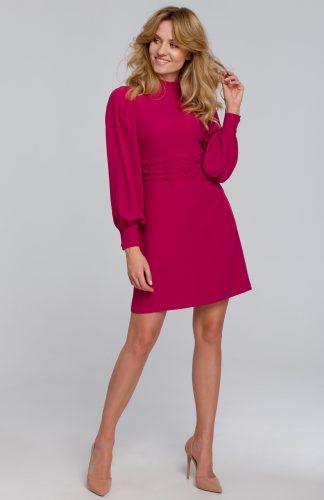 Sukienka mini z bufiastymi rękawami śliwkowa