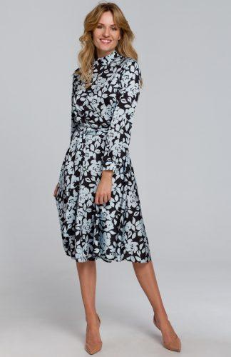 Sukienka elegancka rozkloszowana w kwiaty
