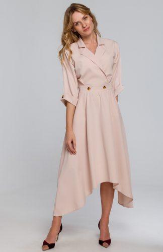 Sukienka rozkloszowana midi elegancka beżowa