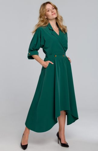 Sukienka rozkloszowana midi elegancka zielona