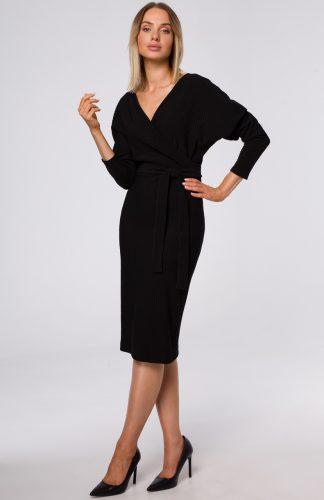 Sukienka kopertowa z prążkowanej dzianiny czarna