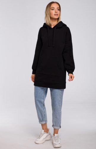 Bluza damska z kapturem długa czarna
