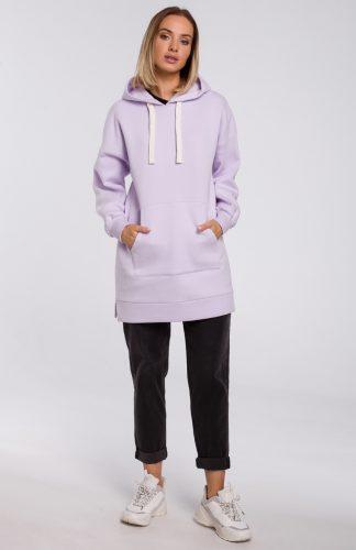 Bluza damska z kapturem długa lila