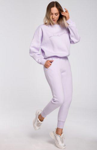 Bluza bawełniana szeroka lila