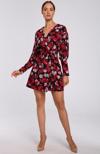 Sukienka kopertowa mini z bufiastymi rękawami