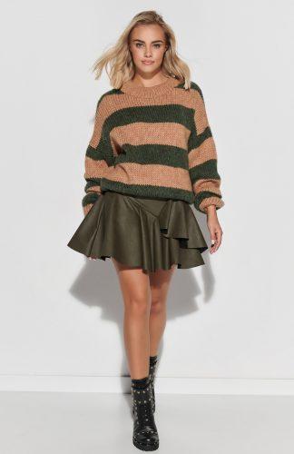 Sweter ovesize ciepły w paski camel khaki