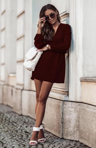 Sukienka rozkloszowana mini z gumką w pasie bordowa