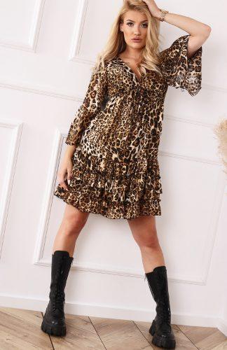 Sukienka mini w panterkę z falbanami