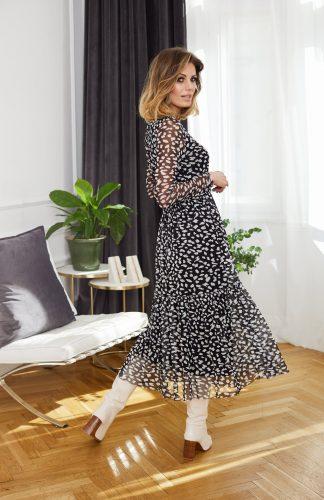 Sukienka szyfonowa midi elegancka w zwierzęcy wzór