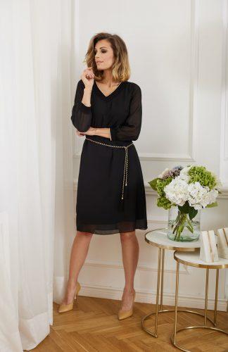Sukienka elegancka szyfonowa czarna
