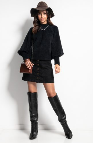 Sweter z półgolfem i z szerokimi rękawami czarny