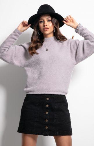 Sweter z półgolfem i z szerokimi rękawami fioletowy