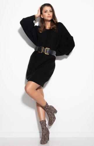 Sukienka swetrowa do kolan z szerokimi rękawami czarna