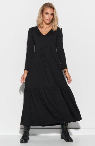 Sukienka do kostek odcinana pod biustem czarna