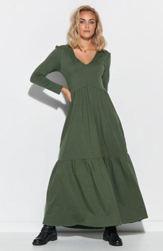 Sukienka do kostek odcinana pod biustem khaki