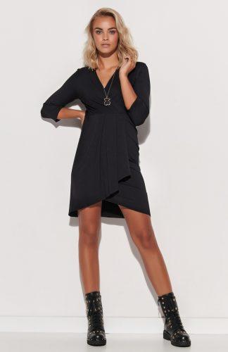 Sukienka kopertowa asymetryczna dopasowana czarna