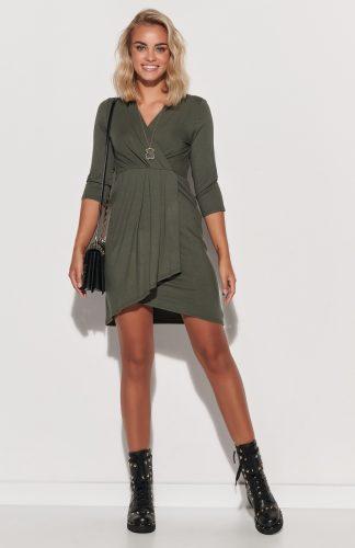 Sukienka kopertowa asymetryczna dopasowana khaki