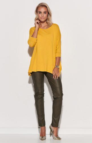 Bluzka damska oversize długa żółta