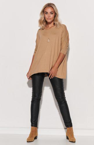 Bluzka damska oversize długa beżowa