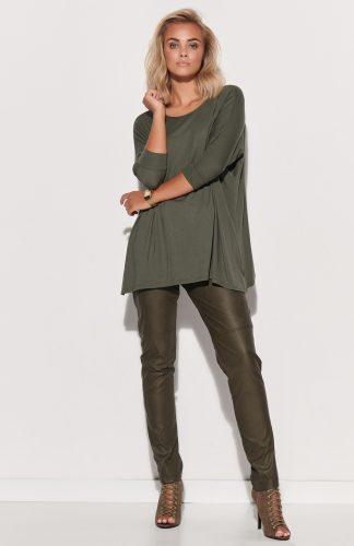 Bluzka damska oversize długa khaki