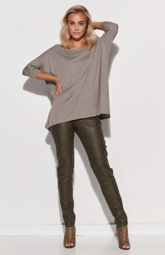 Bluzka damska oversize długa szara