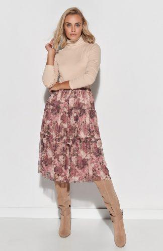 Spódnica tiulowa midi w kwiaty