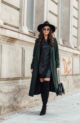 Płaszcz damski długi elegancki z paskiem zielony