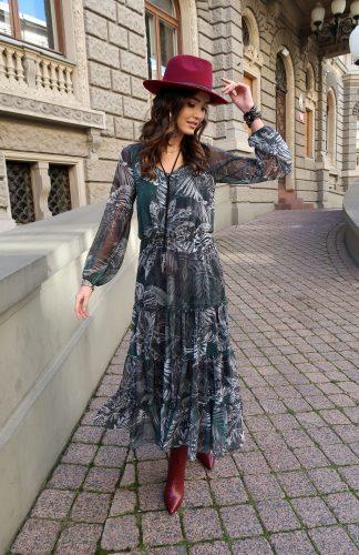 Sukienka szyfonowa długa w kwiaty