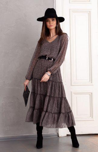 Sukienka szyfonowa długa elegancka