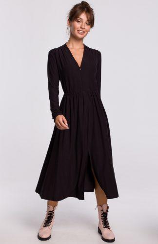 Sukienka midi rozkloszowana z dekoltem V czarna