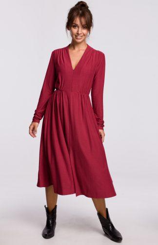 Sukienka midi rozkloszowana z dekoltem V wiśniowa