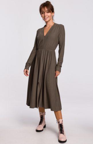 Sukienka midi rozkloszowana z dekoltem V khaki