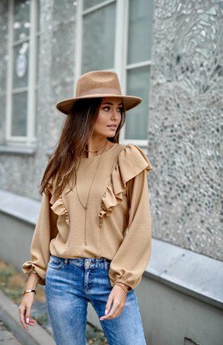 Bluzka z długim rękawem i z falbankami camelowa