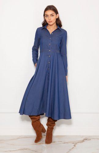 Sukienka koszulowa długa elegancka jeans