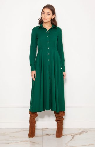 Sukienka koszulowa długa elegancka zielona