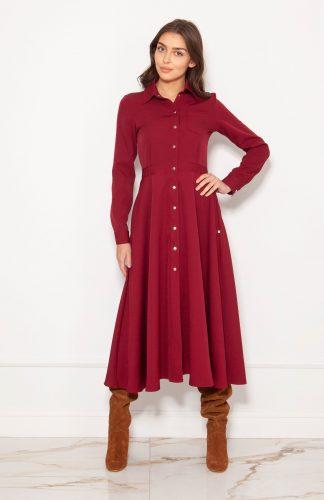 Sukienka koszulowa długa elegancka bordowa