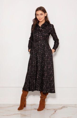 Sukienka koszulowa długa elegancka