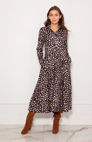 Sukienka koszulowa długa elegancka w panterkę