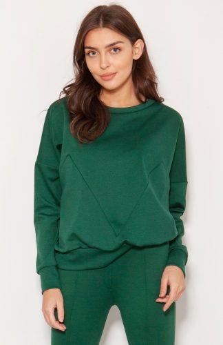 Bluza oversize wkładana przez głowę zielona