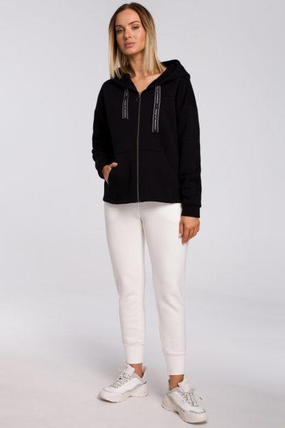 Bluza bawełniana z kapturem oversize czarna