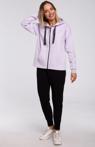 Bluza bawełniana z kapturem oversize lila