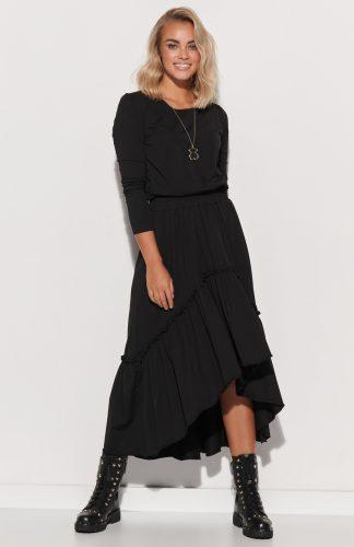 Sukienka dzianinowa długa z falbaną czarna