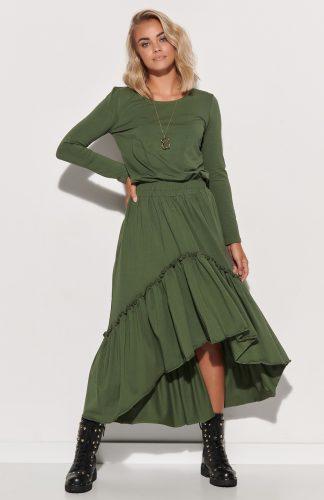 Sukienka dzianinowa długa z falbaną khaki