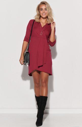 Sukienka kopertowa asymetryczna dopasowana burgund